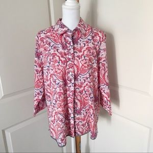 FOXCROFT Wrinkle Free Shaped Fit Button Down Top